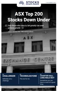 ASX Top 200 Stocks Down Under: Challenger, TechnologyOne, Charter Hall Long WALE REIT