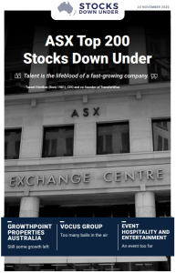 ASX Top 200 Stocks Down Under: Growthpoint Properties Australia, Vocus Group, Event Hospitality and Entertainment