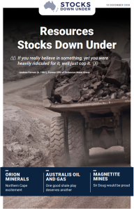Resources Stocks Down Under: Orion Minerals, Australis Oil and Gas, Magnetite Mines