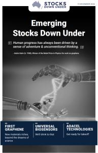 Emerging Stocks Down Under: First Graphene, Universal Biosensors, Adacel Technologies
