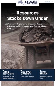 Resources Stocks Down Under: Lotus Resources, Gibb River Diamonds, Elixir Energy