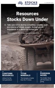 Resources Stocks Down Under: Liointown Resources, Titan Minerals, Poseidon Nickel