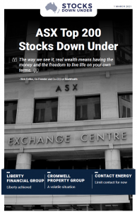 ASX Top 200 Stocks Down Under: Liberty Financial Group, Cromwell Property Group, Contact Energy