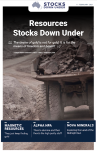 Resources Stocks Down Under: Magnetic Resources, Alpha HPA, Nova Minerals