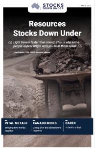 Resources Stocks Down Under: Vital Metals, Xanadu Mines, RareX