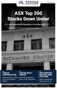 ASX Top 200 Stocks Down Under: Fineos Corporation, United Malt Group, Restaurants Brands New Zealand