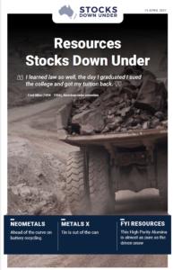 Resources Stocks Down Under: Neometals, Metals X, FYI Resources