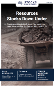 Resources Stocks Down Under: Lake Resources, Zeotech, Copper Mountain Mining