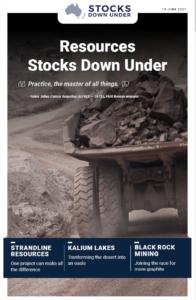 Resources Stocks Down Under: Strandline Resources, Kalium Lakes, Black Rock Mining