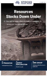 Resources Stocks Down Under: CI Resources, Lefroy Exploration, GWR Group