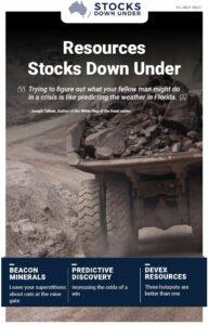 Resources Stocks Down Under: Beacon Minerals, Predictive Discovery, Devex Resources
