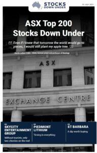 ASX Top 200 Stocks Down Under: Skycity Entertainment Group, Piedmont Lithium, St Barbara