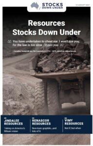 Resources Stocks Down Under: Jindalee Resources, Renascor Resources, Vimy Resources