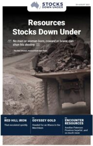 Resources Stocks Down Under: Red Hill Iron, Odyssey Gold, Encounter Resources